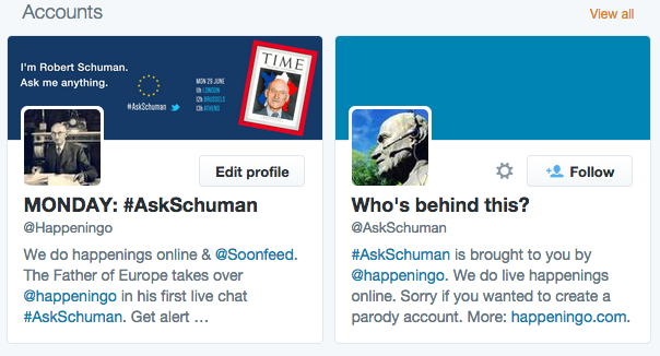 Ask Schuman Twitter Accounts